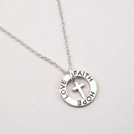 Necklace with Faith Hope Love Ring and Cross